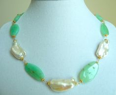 Chrysoprase, Biwa Pearl Necklace