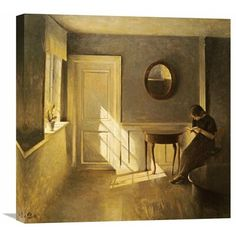 Global Gallery 'A Girl Reading in an Interior' by Peter Ilsted Painting Print on Wrapped Canvas Size: H x W x D Sketch Painting, Figure Painting, Painting Prints, Paintings, Girl Reading Book, Book Girl, Reading People, Pinterest Arte, Medieval