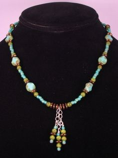 Boho Beaded Necklace Turquoise Czech Glass by FiveLeavesFound, $32.00