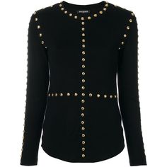 Balmain Studded Wool and Silk Sweater ($1,255) ❤ liked on Polyvore featuring tops, sweaters, black, silk long sleeve top, long sleeve sweater, embellished top, silk sweater and silk top