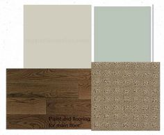 Espresso hardwood floor, carpet color, agreeable gray and silver sage.