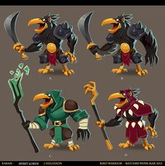 """Early Visual-Development work from for the newly released game Spirit Lords by Kabam. Had a blast working on this, although I recall it was quite creatively exhausting .The focus lay on ideas and exploration rather than polish and """"sell"""". Character Design Animation, Character Design References, Game Character, Character Concept, Fantasy Races, High Fantasy, Monster Concept Art, Monster Characters, Fun Illustration"""