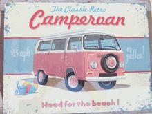Vintage VW Van Picture Pink