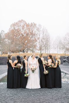 NCMA Raleigh Wedding with Winter Dresses, Colors and Decor - Beautiful Winter Bridal Party Black Bridesmaids Dresses Red Flower Bouquet North Carolina Museum of - Winter Bridesmaid Dresses, Winter Bridesmaids, Black Bridesmaids, Winter Dresses, Winter Wedding Receptions, Winter Wedding Flowers, Bridal Flowers, Wedding Venues, Science Wedding