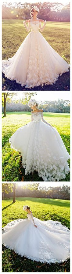 White Court Train Off-the-shoulder lace wedding dress.