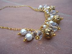 Pearl Cluster Necklace Yellow Gold Jewelry Gypsy Womens Crystal Jewellery June Birthstone 30th Wedding Anniversary Valentine Gift N-1. $25.00, via Etsy.