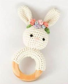 Crochet bunny teether pattern with flower crown // PDF pattern only // Crochet rabbit rattle // Cotton nursery toy // Floral crown patternBunny Crochet Patterns -Easter Fun - A More Crafty LifeLooking for some adorable Bunny Crochet Patterns? Bunny Crochet, Crochet Mignon, Easter Crochet Patterns, Crochet Baby Toys, Crochet Kids Hats, Cute Crochet, Amigurumi Patterns, Crochet Crafts, Crochet Projects