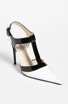 Prada Bicolor T-Strap Pump available at #Nordstrom - need to find an affordable style like this, so beautiful to admire for inspiration!