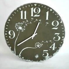 Wooden clock, dandelions