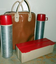 Vintage Thermos Set Red Thermos Picnic Ware by TheBackShak on Etsy