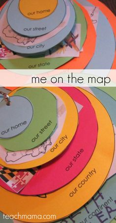 me on the map: how to teach kids where in the world they live | circles to show where kids live on the planet, continent, country, state, city, street, home
