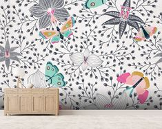 Butterflies And Orchids wall mural room setting