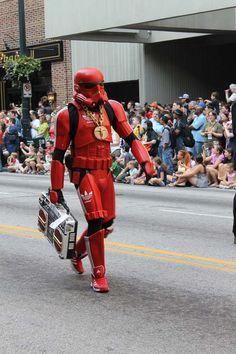 Confident Storm Trooper breaking the norm