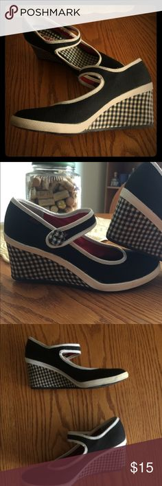 Keds heels Adorable unique Keds heeled wedges. Black fabric uppers with black and white gingham wedge. Pair with shorts, skirt or jeans for a casual look. Keds Shoes Wedges