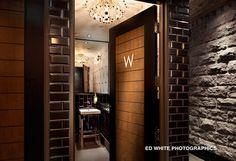 Earls Restaurant Bathroom - Toronto. Pretty sure that is a Robert Abbey light fixture.