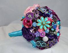 Purple Roses and Brooch Bouquet from ETSY
