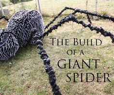 The Build of a Giant Spider – Cindy Cloyd The Build of a Giant Spider This spider is feet in diameter from leg to leg. The legs are detachable for easy storage and transportation. It is made of a chicken wire frame f… Fairy Halloween Costumes, Halloween Projects, Scary Halloween, Halloween Stuff, Halloween Camping, Halloween Graveyard, Halloween Designs, Spooky Scary, Halloween Fashion