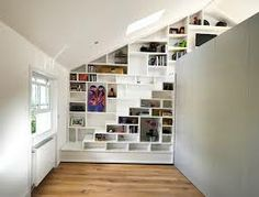 london interior design London Interior Layout By Hugo D'Enjoy Minimalist Bookshelves, Creative Bookshelves, Bookshelf Design, Bookshelf Ideas, Stair Shelves, Shelving, Interior Design London, Attic Renovation, Built In Bookcase