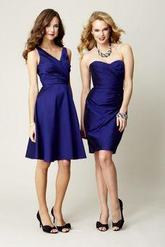 Kennedy Blue silky Taffeta bridesmaid dresses in Sapphire. KB bridesmaid dress Jenna (left) and KB bridesmaid dress Jenna (right.)