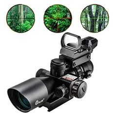 Hunting- CVLIFE Tactical Rifle Scope Optics Hunting Rifle Scope Red Green Illuminated Crosshair Gun Scope with Red Laser, Rail Mount and 4 Reticle Dot Open Reflex Sight >>> See this great product. Hunting Scopes, Hunting Rifles, Gun Shooting Range, Gun Vault, Hero Poster, Tactical Rifles, Tactical Equipment, Armor Concept, Hunting Clothes
