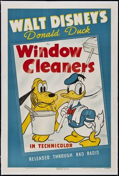 Window Cleaners is an animated short starring Donald Duck and Pluto. Donald is a window cleaner on the side of a skyscraper, with help from Pluto. Walt Disney Characters, Disney Movie Posters, Classic Movie Posters, Classic Cartoons, Disney Films, Disney Cartoons, Disney Pixar, Retro Cartoons, Retro Posters