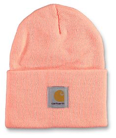 The Watch beanie in the fresh peach colorway from Carhartt is made with a tight knit construction and a cuffed design that is perfect for work or casual wear. To finish the look, this fold beanie features a Carhartt logo patch embroidered on the cuff.