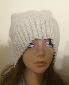 Thick cashmere two ply gray cashmere hat by mcleodhandcraftgifts