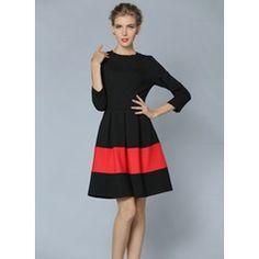 Algodón/Del spandex con Costura/color-block Sobre la rodilla Vestido (199087068)