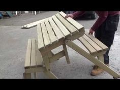 Folding Picnic Bench and Table - YouTube
