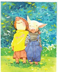 Holly Hobbie, Toot and Puddle Holly Hobbie, This Little Piggy, Little Pigs, Toot & Puddle, Happy Pig, Pig Art, Cute Pigs, Children's Book Illustration, Book Illustrations