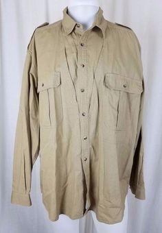 f65ee8b2 Mens Vintage LL Bean Woven Waffle Hunting Fishing Long Sleeve Button Up  Shirt L