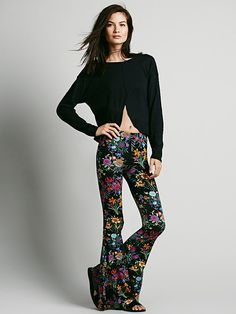 f368b79fc8e8 Free People In Bloom Bells in Black (Black Floral) - Lyst