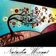 $265. - Natasha WESCOAT ORIGINAL Folk ART Painting 3 piece by wescoatart