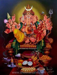 Shri Ganesh Images, Shiva Parvati Images, Lakshmi Images, Ganesha Pictures, Clay Ganesha, Ganesha Art, Lord Ganesha Paintings, Lord Shiva Painting, Shiva Art
