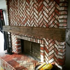 """119 Likes, 12 Comments - 805 Woodworks (@805woodworks) on Instagram: """"Mantel install on a rainy day..🔥Had a good time running this thing wild over the brick. Wait til…"""""""