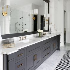 Dark gray bathroom, black vanity bathroom, mint bathroom, bathroom bin, g. Dark Gray Bathroom, Black Vanity Bathroom, Master Bath Vanity, Small Bathroom, Bathroom Bin, Gray Vanity, Navy Bathroom, Bathroom Colors, Black And White Master Bathroom