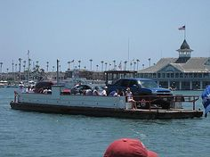 The ferry between Balboa and Balboa Island with the Pavilion in the background.