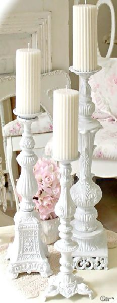 I adore these elaborate shabby chic pedestal candle stands ● beautiful