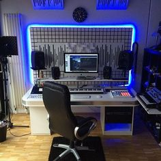 No matter how large or small your professional recording music studio - even if you do sound production in your home studio - anything is more cool with a bit of neon blue glow in the evening