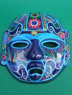 painted head art | Mayan Head - Hand painted Clay Mask - Latin - Mexican Folk Art Craft