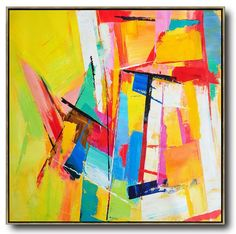 CZ Art Design - Large contemporary painting canvas art, hand painted oversized Palette Knife Painting abstract Art, large square textured painting. Yellow, red, blue, green, navy, pink, etc.