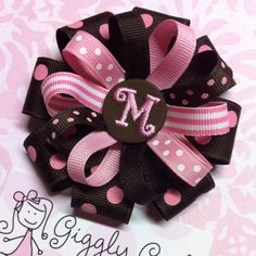 Brown & Pink Stacked Hair Bow!