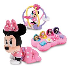 Let Baby follow the bow! The adorable Minnie Mouse Musical Touch 'n Crawl plush toy from Fisher-Price will keep your little mouse moving. With just a press of Minnie's back, Baby will hear a cute phrase followed by Minnie crawling along to a pretty tune. Minnie will crawl for the entire tune, encouraging Baby to crawl along with her. Plus, she's soft to the touch and sized just right for tiny hands.