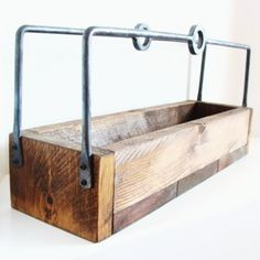 Homebrew Carrier Wood Tray Autumn Decor Kitchen Centerpiece Rustic Forged Iron Handles. $95.00, via Etsy.