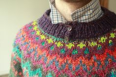 Handmade natural wool Icelandic style unisex sweater by TASSSHA on Etsy