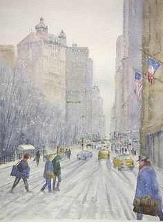 Snow in the City-New York 2 by Judy Mudd Watercolor ~ 16 x 12