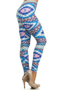 Blue Aztec Leggings Aztec Leggings, Sweatpants, Rock, Closet, Blue, Fashion, Moda, Armoire, Closets
