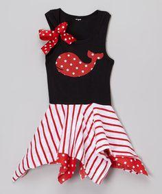 Navy & Red Dot Handkerchief Dress - Infant, Toddler & Girls