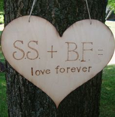 Rustic Wedding Sign, Country Wedding - wood burned INITIAL HEART to hang on tree, chair sign, save the date, flower girl ringbearer to carry. $34.99, via Etsy.