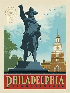 Philadelphia, PA: Independence Hall - Anderson Design Group has created an award-winning series of classic travel posters that celebrates the history and charm of America's greatest cities and national parks. This print features a majestic view of scenic Independence Hall. Printed on heavy gallery-grade matte finished paper, this print will add a classic sense of patriotic pride to any home or office wall.